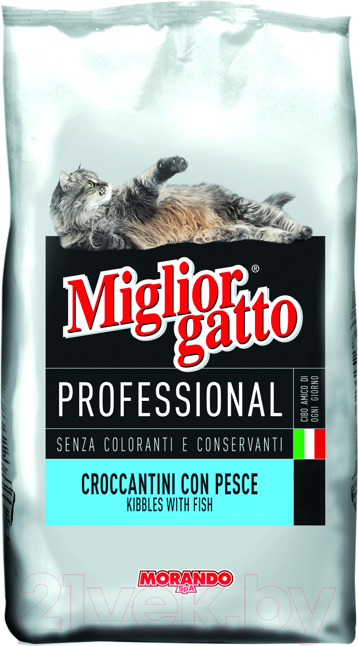 Купить Корм для кошек Miglior, Gatto Professional Kibbles Fish (15кг), Италия