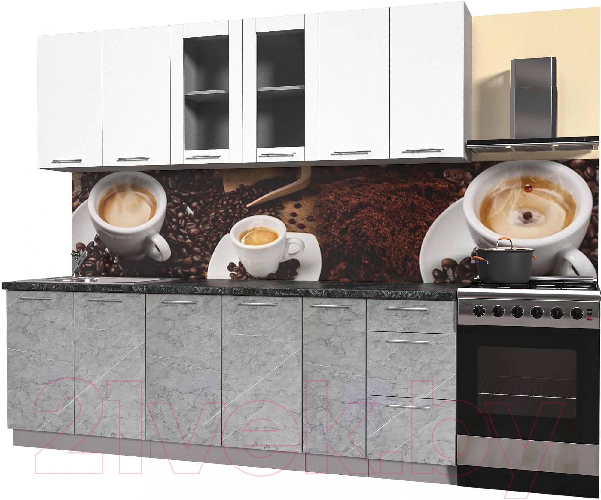 Купить Готовая кухня Интерлиния, Мила Пластик 2.3 Б (мрамор/белый глянец/кастилло темный), Беларусь