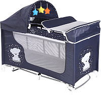 Кровать-манеж Lorelli Moonlight Rocker / 10080421832 (dark blue/teddy bear) -