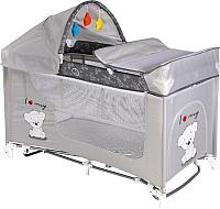Кровать-манеж Lorelli Moonlight Rocker / 10080421833 (grey/my teddy) -