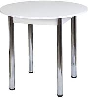 Обеденный стол FORT Круглый 80x80x75 (белое дерево/хром) -