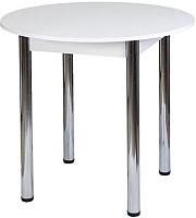 Обеденный стол FORT Круглый 90-120x90x75 (белое дерево/хром) -