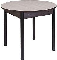 Обеденный стол FORT Круглый 90-120x90x75 (шимо светлый/черный) -