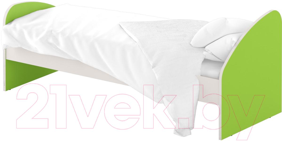 Купить Односпальная кровать Славянская столица, ДУ-КО12-4 (белый/зеленый), Беларусь