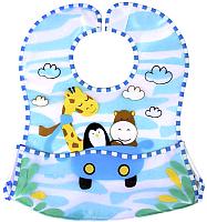Нагрудник детский BabyOno 836 с расстёгиваемым карманом (голубой) -