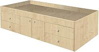 Односпальная кровать Polini Kids Simple 3100 с 4 ящиками (дуб) -