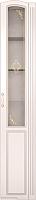 Шкаф-пенал с витриной Ижмебель Виктория 32 правый (белый глянец с порами/белая глянцевая пленка) -