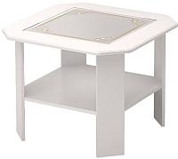Журнальный столик Ижмебель Виктория 35 (белый глянец с порами/белая глянцевая пленка) -