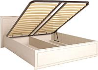 Двуспальная кровать Ижмебель Венеция 5 с ПМ 160 (бодега светлый/накладной профиль) -
