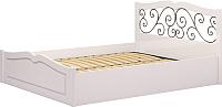 Каркас кровати Ижмебель Лукреция 5 160 (белый глянец с порами/белая глянцевая пленка) -