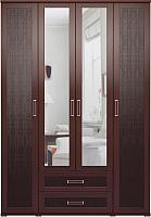 Шкаф Ижмебель Аргентина 1 с зеркалом (дуб тортона темный/экокожа) -