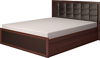 Двуспальная кровать Ижмебель Аргентина 16 с ПМ 160 (дуб тортона темный/экокожа) -