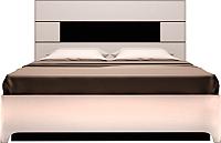 Двуспальная кровать Ижмебель Танго 5 с ПМ 160 (белый снег/белый гладкий глянец) -
