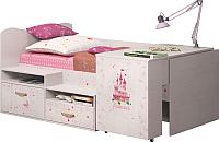 Кровать-чердак Ижмебель Принцесса 12 (лиственница сибиу) -
