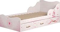 Односпальная кровать Ижмебель Принцесса 5 с ящиками 90 комплектация 1 (лиственница сибиу) -