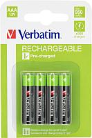 Комплект аккумуляторов Verbatim ААА 950 мАч NiMH  / 49942 (4шт) -
