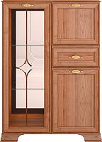 Шкаф с витриной Ижмебель Венеция 15 (клен торонто/профиль с патиной) -