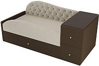 Кровать-тахта Лига Диванов Джуниор правый / 102197 (микровельвет бежевый/коричневый) -