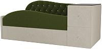 Кровать-тахта Лига Диванов Джуниор правый / 102198 (микровельвет зеленый/бежевый) -