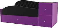 Кровать-тахта Лига Диванов Джуниор правый / 102201 (микровельвет черный/фиолетовый) -