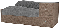 Кровать-тахта Лига Диванов Джуниор правый / 102207 (рогожка серый/коричневый) -