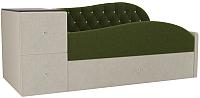 Кровать-тахта Лига Диванов Джуниор левый / 102198 (микровельвет зеленый/бежевый) -