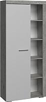 Шкаф с витриной Сакура Best №2.1 (бетон/белый глянец) -