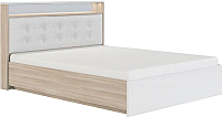 Двуспальная кровать Сакура Виктория №16ПМ с ПМ 160 (шимо светлый/белый глянец) -
