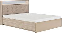 Двуспальная кровать Сакура Виктория №16ПМ с ПМ 160 (шимо светлый/мокко глянец) -