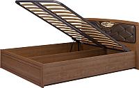 Двуспальная кровать Ижмебель Лондон 29 с ПМ 160 (клен торонто/накладной профиль глянцевый лак) -
