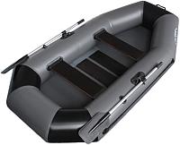 Надувная лодка Vivax К250 с ковриком-сланью (без киля, серый/черный) -