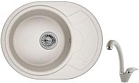 Мойка кухонная Granula 5802 + смеситель GR-4003 (базальт) -