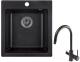 Мойка кухонная Granula GR-4201 + смеситель 35-09 (черный) -