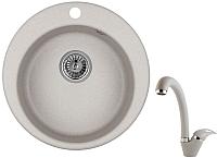 Мойка кухонная Granula 4801 + смеситель GR-4003 (базальт) -