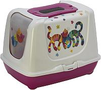 Туалет-домик Moderna Trendy Cat Друзья навсегда / 14C245328 (ярко-розовый) -