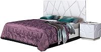 Двуспальная кровать Мебель-КМК 1600 Кензо 0674.2 (белый/белый глянец) -