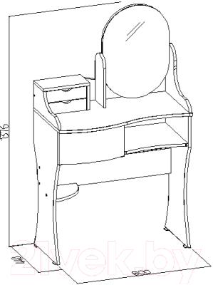 Туалетный столик с зеркалом Глазов Амели 14 (венге)