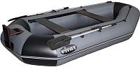 Надувная лодка Vivax К280Т с полом-книгой (без киля, серый/черный) -