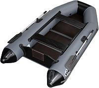 Надувная лодка Vivax Т280 с полом-книгой (с килем, серый/черный) -