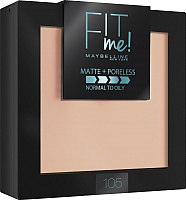 Пудра компактная Maybelline New York Fit Me 105 (натурально-бежевый) -