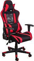 Кресло геймерское Седия Optimus (ткань/сетка, черный/красный) -