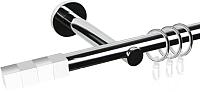 Карниз для штор АС ФОРОС Dance D19Г + наконечники Магнум белый (1.6м, хром) -