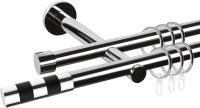 Карниз для штор АС ФОРОС Dance D19Г/19Г + наконечники Валес черный (3м, хром) -