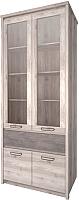 Шкаф с витриной Anrex Jazz 2V2D1S (каштан найроби/оникс) -