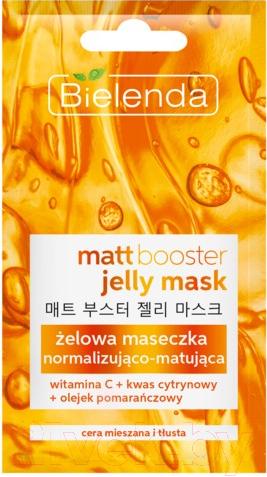 Маска для лица гелевая Bielenda, Matt Booster Jelly Mask д/кожи смешанного типа и жирной кожи (8г), Польша  - купить со скидкой