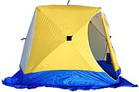 Палатка Стэк Куб-3 (белый/голубой/желтый) -