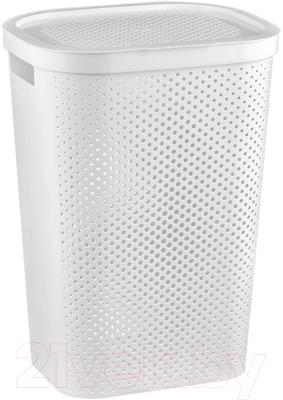 Корзина для белья Curver Infinity Hamper Dots / 231007 (белый) -
