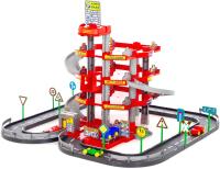 Паркинг Полесье 4-уровневый с дорогой и автомобилями / 44723 (красный, в коробке) -