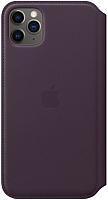 Чехол-книжка Apple Leather Folio для iPhone 11 Pro Max Aubergine / MX092 -