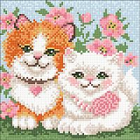 Набор алмазной вышивки Wizardi Влюбленные котики / WD2382 -